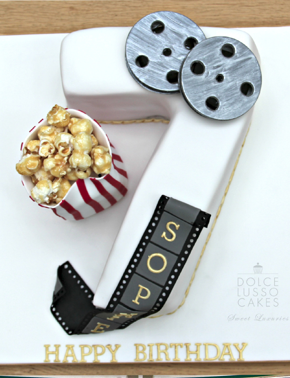 Dolce Lusso Cakes 7 number7 birthday cinema film popcorn cake