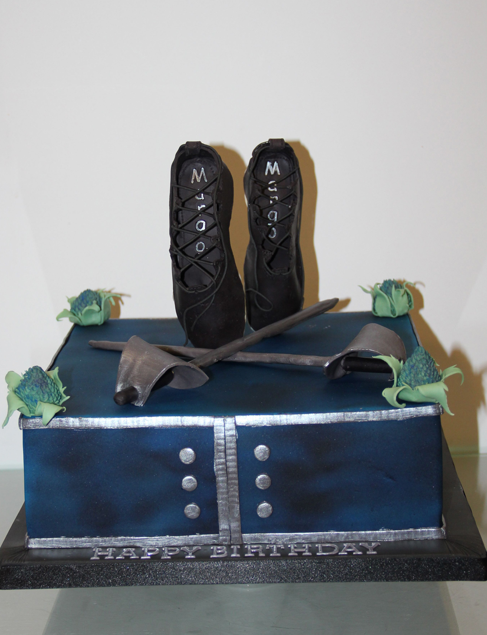 Dolce Lusso Cakes celebration cake scottish dance thistle blue shoe 3d