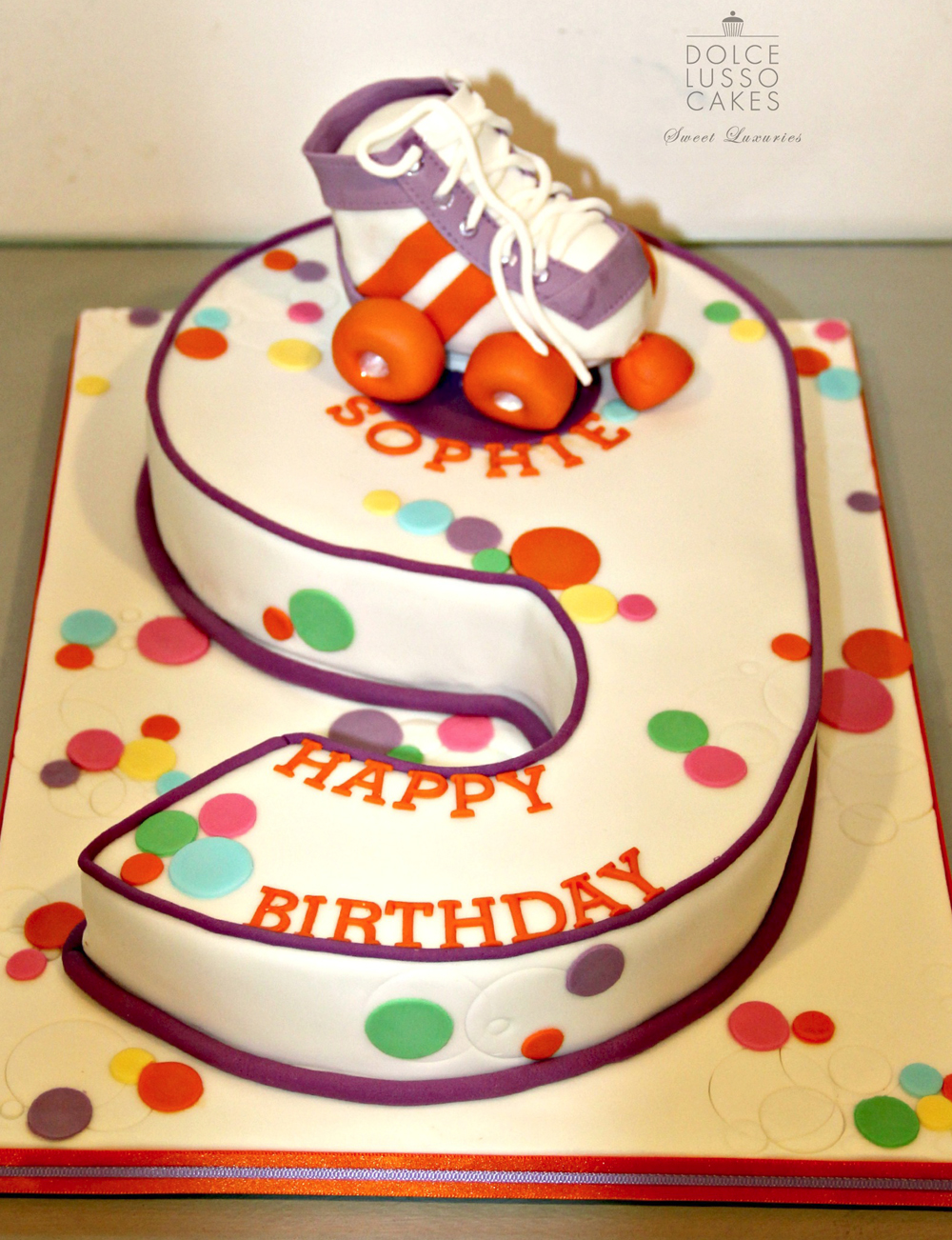 Dolce Lusso Cakes number9 skate celebration purple birthday cake