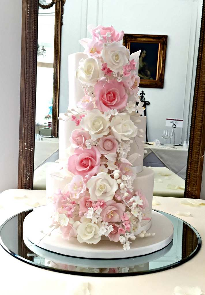Dolce Lusso Cakes 3 tier shades of pink sugar flowers floral cascade taplow
