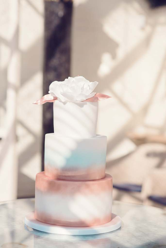 Dolce Lusso Cakes - 3 tiered gold blue painted rose topper