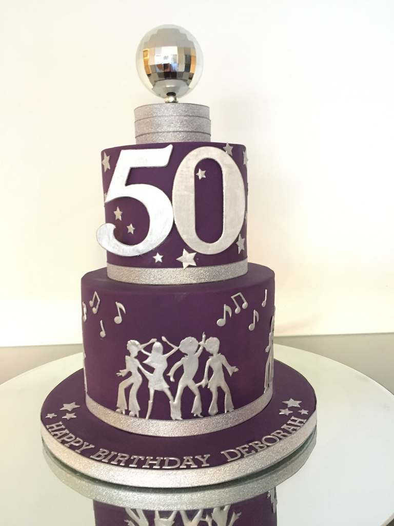 Dolce Lusso Cakes Disco Fever Purple 50 birthday celebration cake