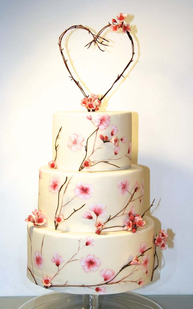 Dolce Lusso Cakes 3 tier handpainted cherry blossom twig heart 3d flowers white pink wedding cake compleat angler