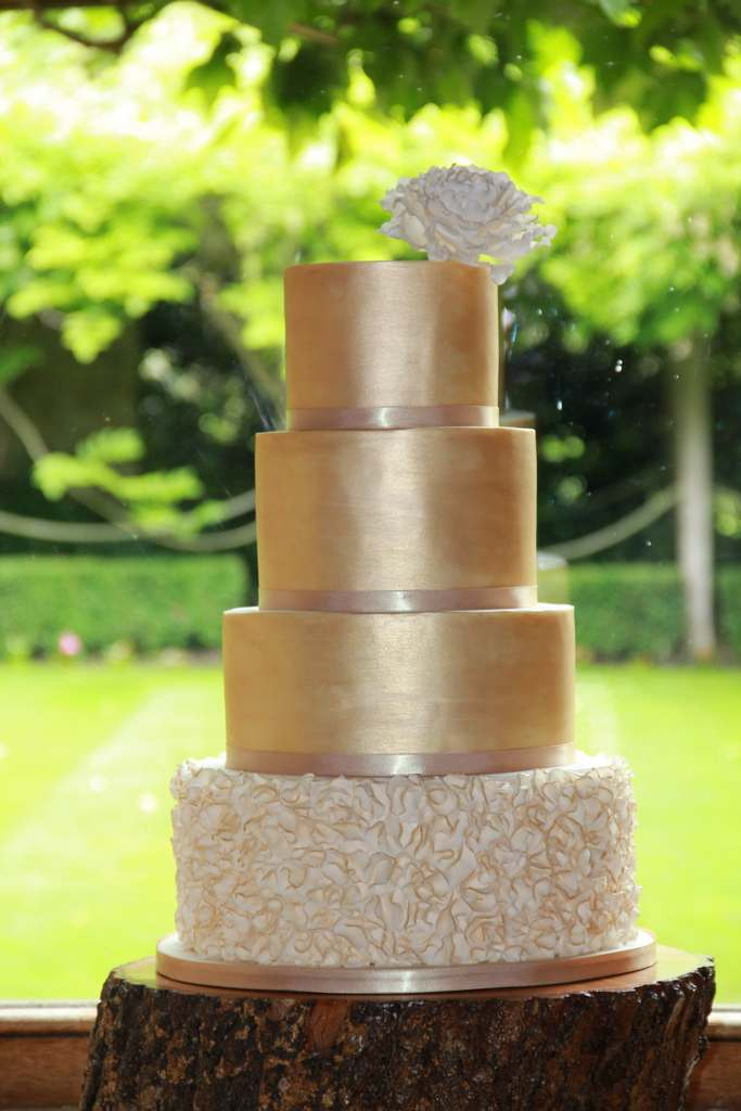 Dolce Lusso Cakes 4 tier gold luster ruffles sugar rose wedding cake