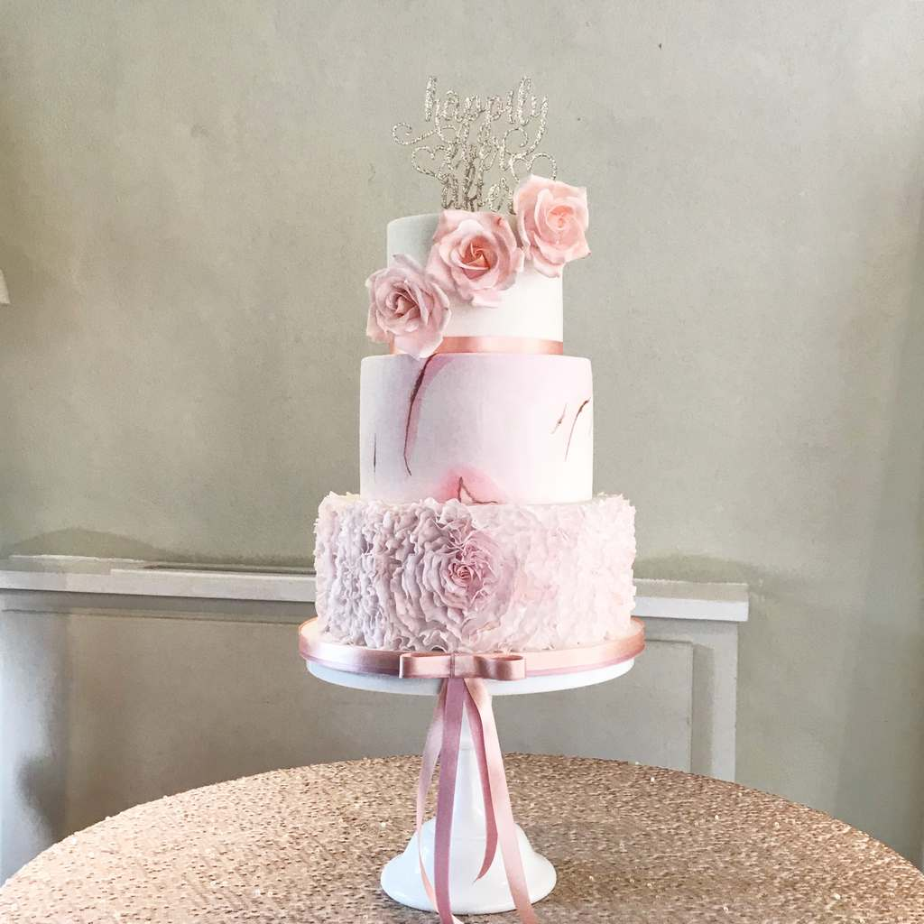 Dolce Lusso Cakes 3 tier blush pink sugar flower rose marble gold heart ruffles wedding cake
