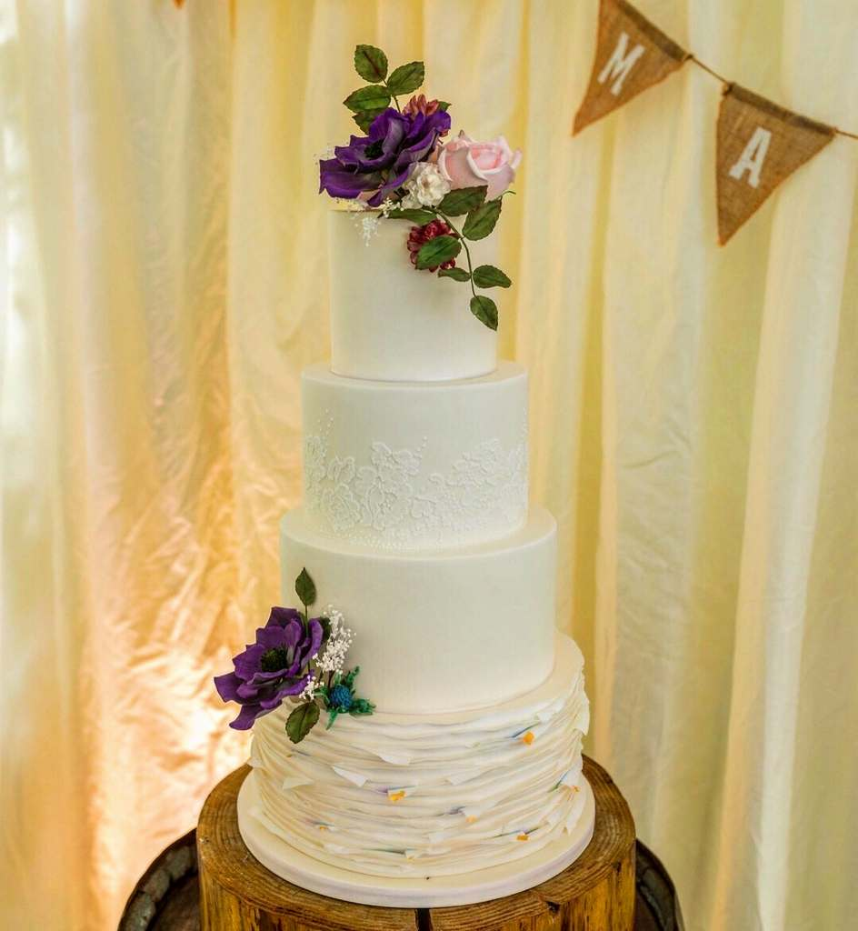 Dolce Lusso Cakes - 4 tiered purple anenome lace ruffles