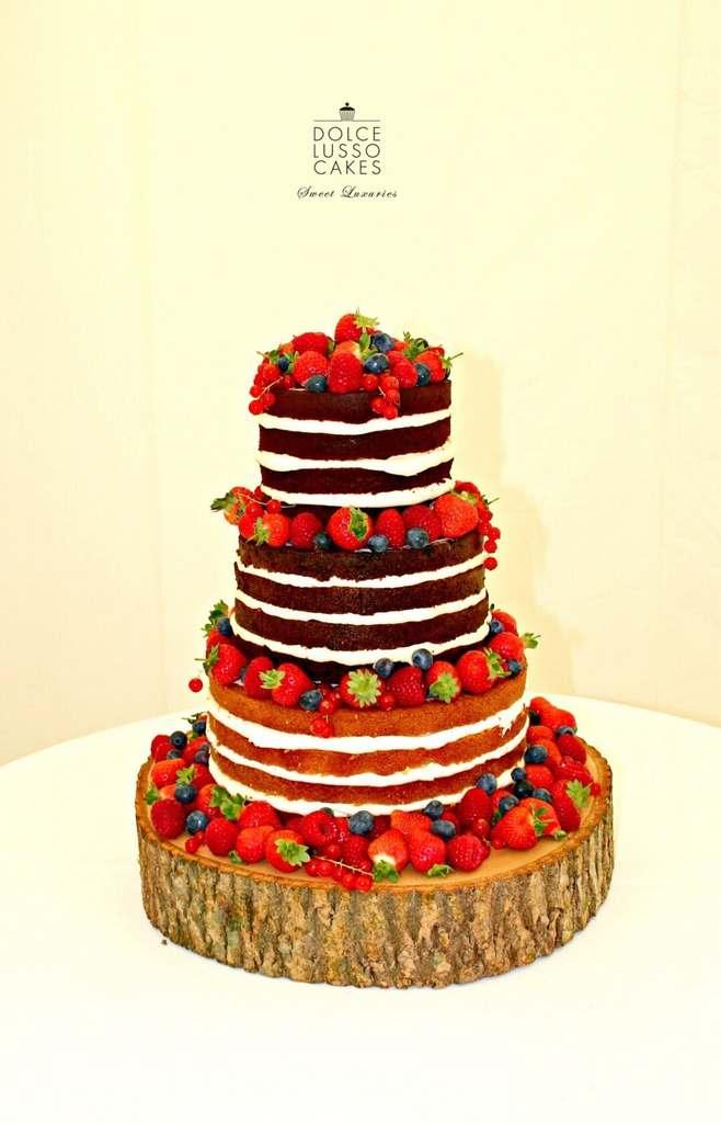 Dolce Lusso Cakes 3 tier naked wedding cake fresh berries fruit log slice
