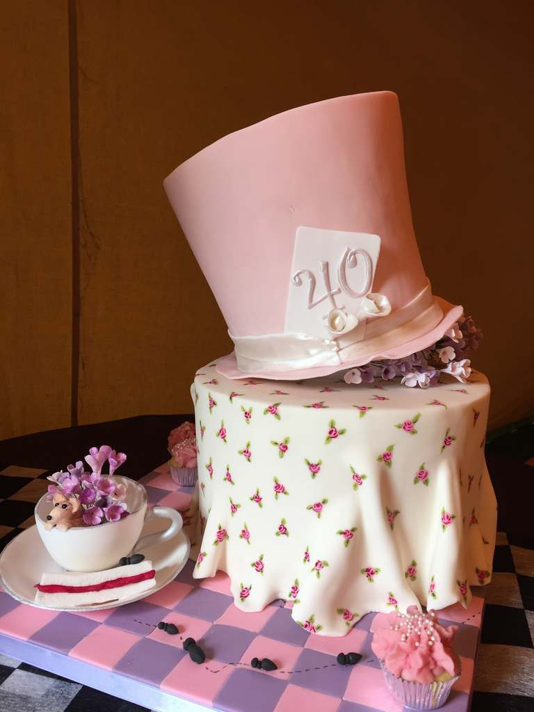 Dolce Lusso Cakes mad hatter tea part birthday 40 celebration cake