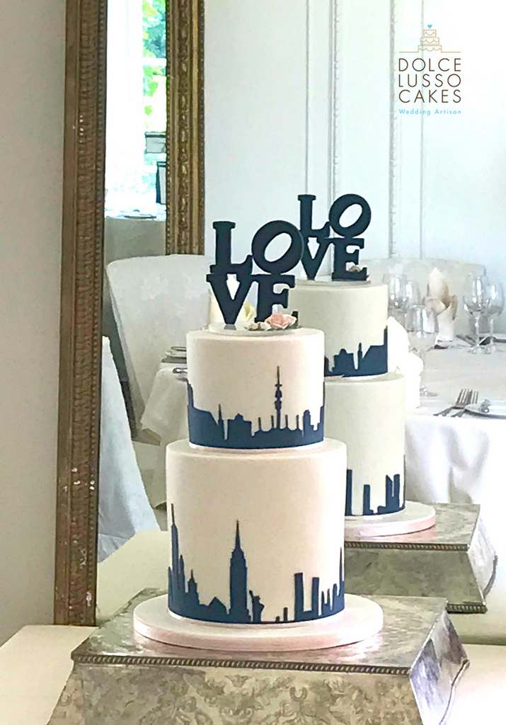 Dolce Lusso Cakes - 2 tiered love city silhouette