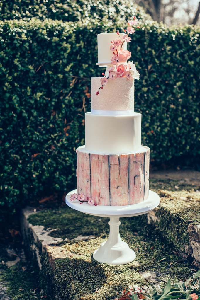Dolce Lusso Cakes 4 tiered wedding cake pink driftwood glitter cherry blossom rose