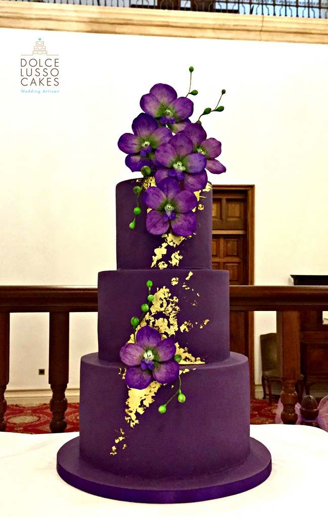Dolce Lusso Cakes - 4 tiered purple gold wedding cake sugarcraft orchid