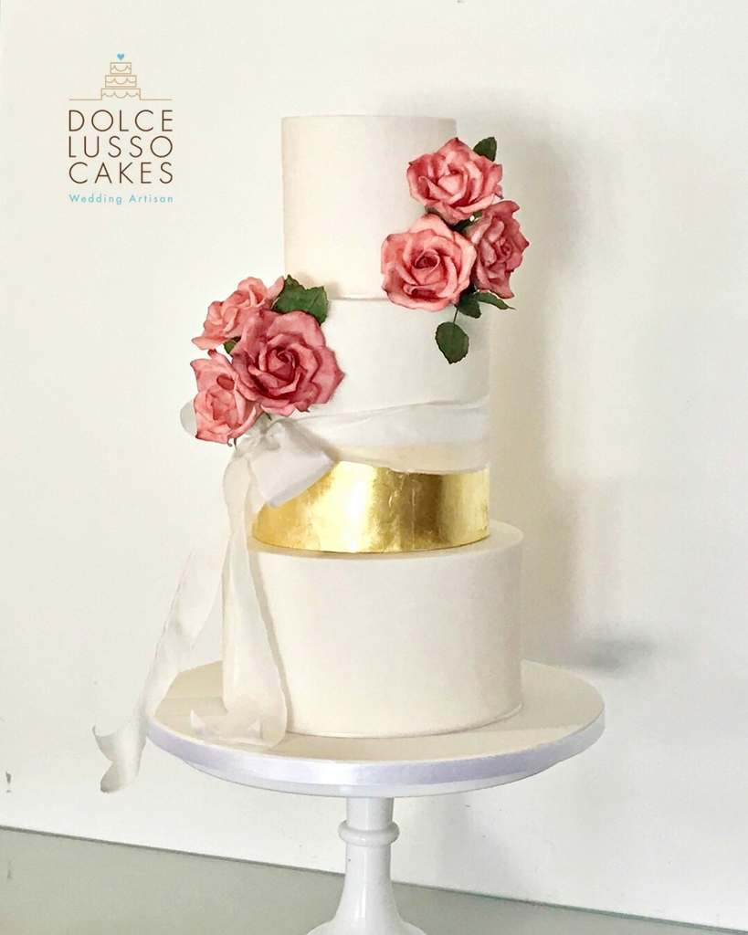 Dolce Lusso Cakes - 3 tiered white gold silk pink wedding cake sugarcraft flowers rose