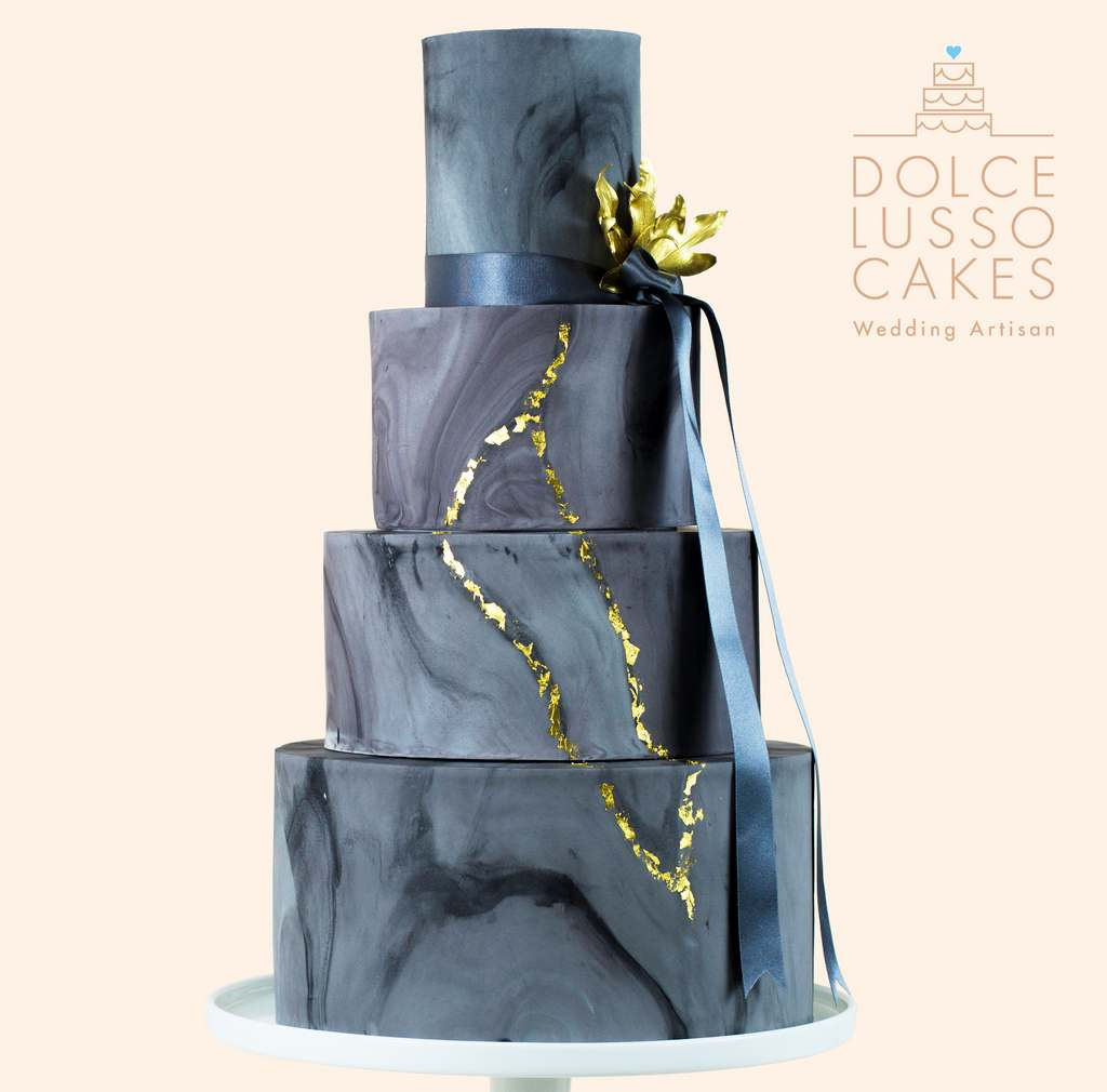 Dolce Lusso Cakes 4 tier wedding cake grey gold marble geode leaves