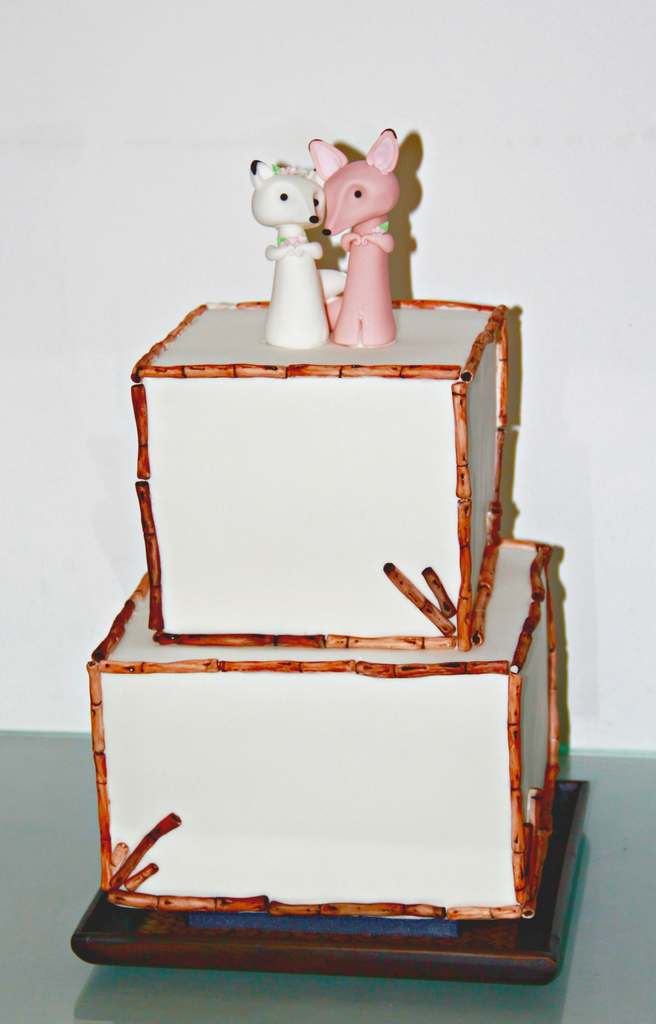 Dolce Lusso Cakes 2 tier wedding cake sugarcraft bamboo snowfox sandfox fox topper small wedding