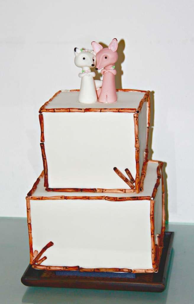 Dolce Lusso Cakes 2 tier wedding cake sugarcraft bamboo snowfox sandfox fox topper small wedding