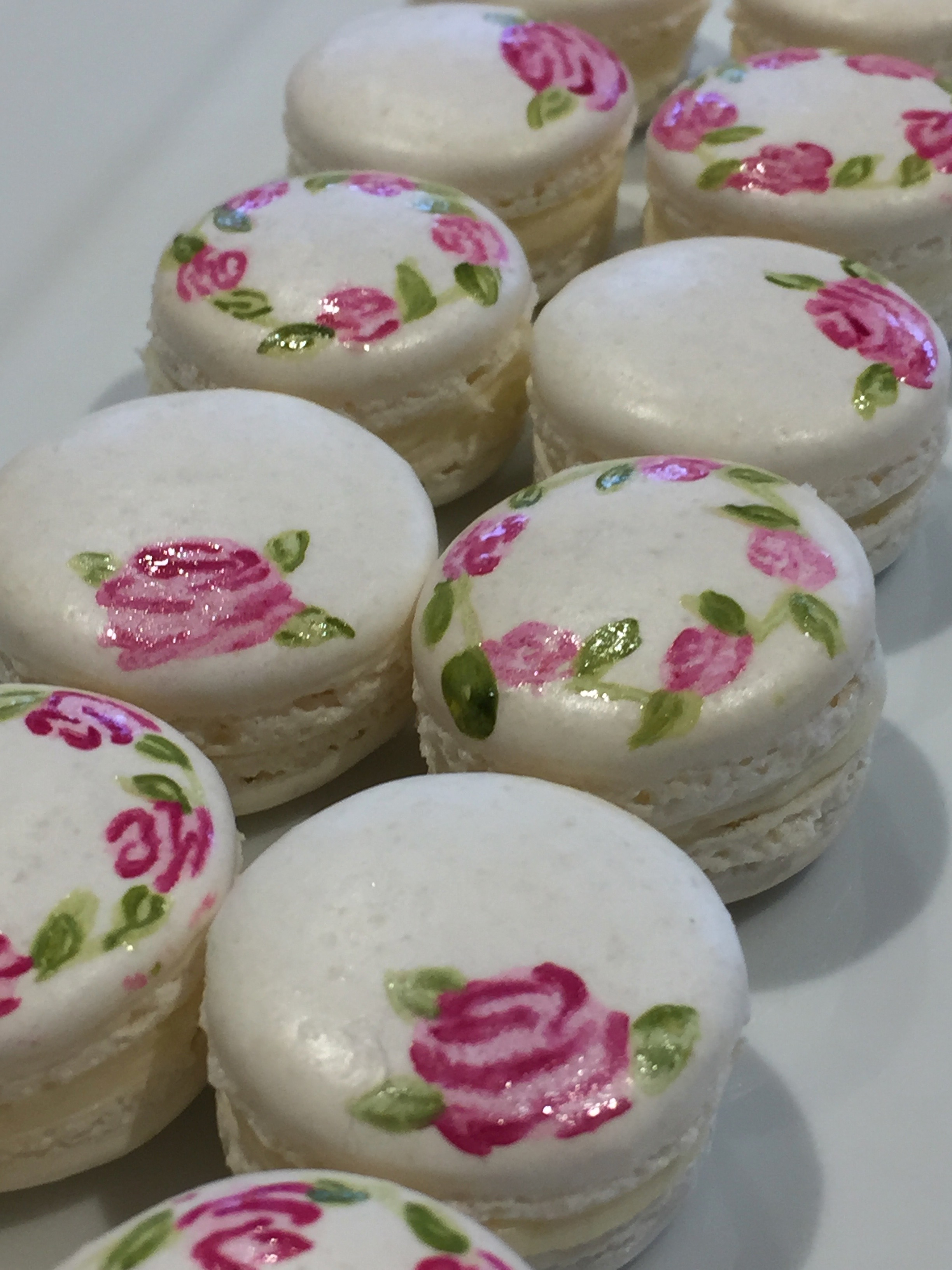 Dolce Lusso Cakes handpainted macarons pink rose