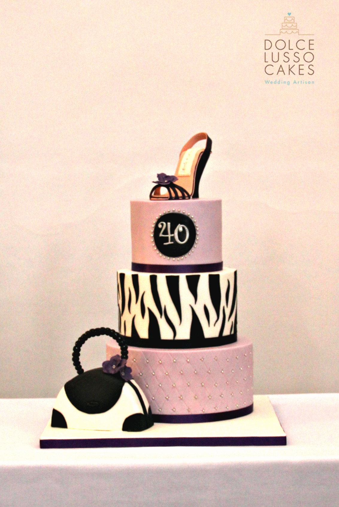 Dolce Lusso Cakes 40 birthday animal print bag shoe black white pink birthday celebration cake