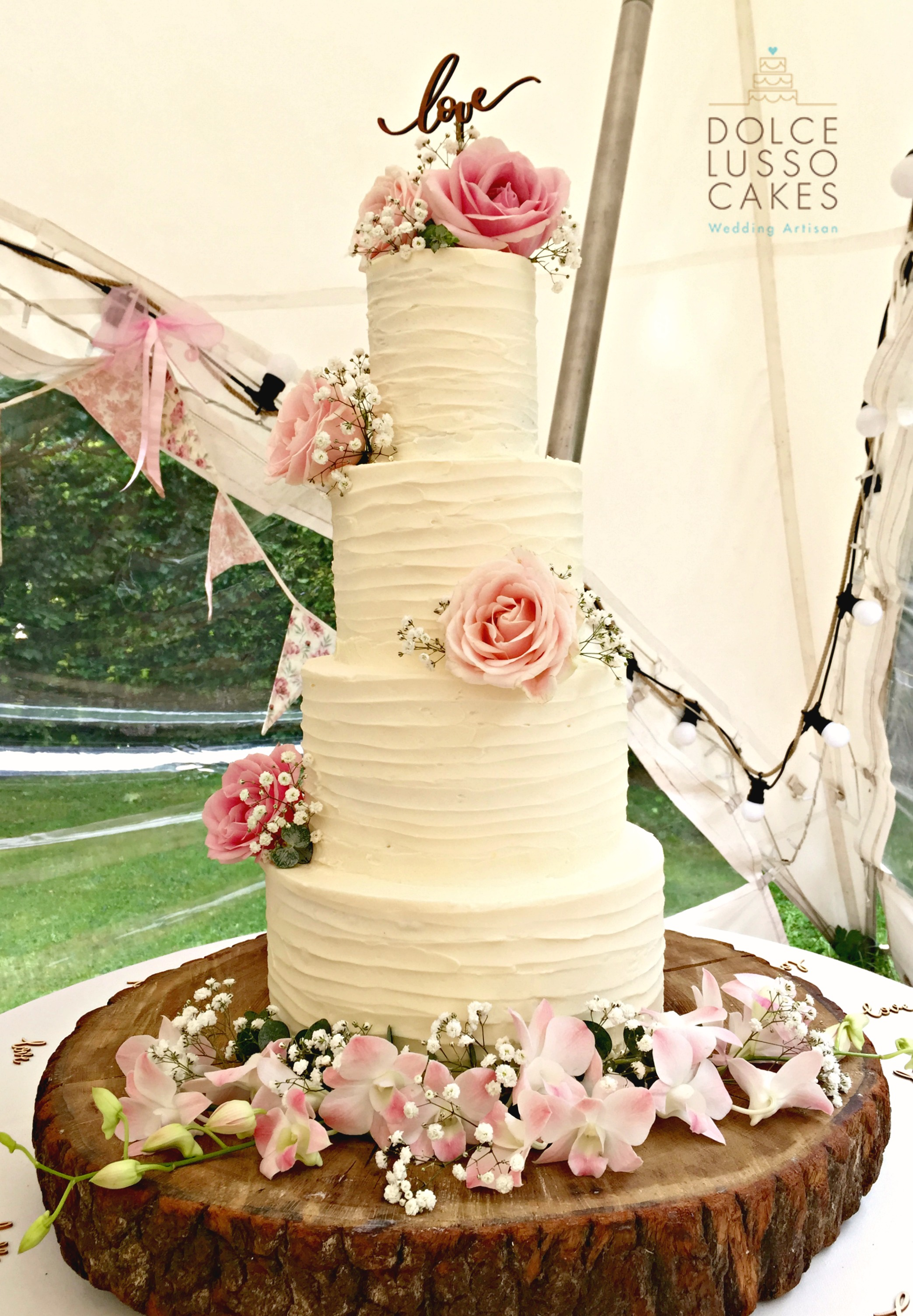 Dolce Lusso Cakes 3 tier naked wedding cake fresh berries fruit log slice