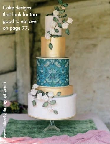 Five tiered luxury wedding cake inspired with William Morris The Strawberry Thief